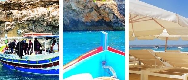 Un baptème de plongée à 45€-Une sortie en mer à Blue Grotto à 8€-Une location de deux transats et un parasols à 10€